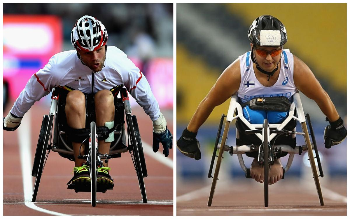two male wheelchair racers sprint for the line
