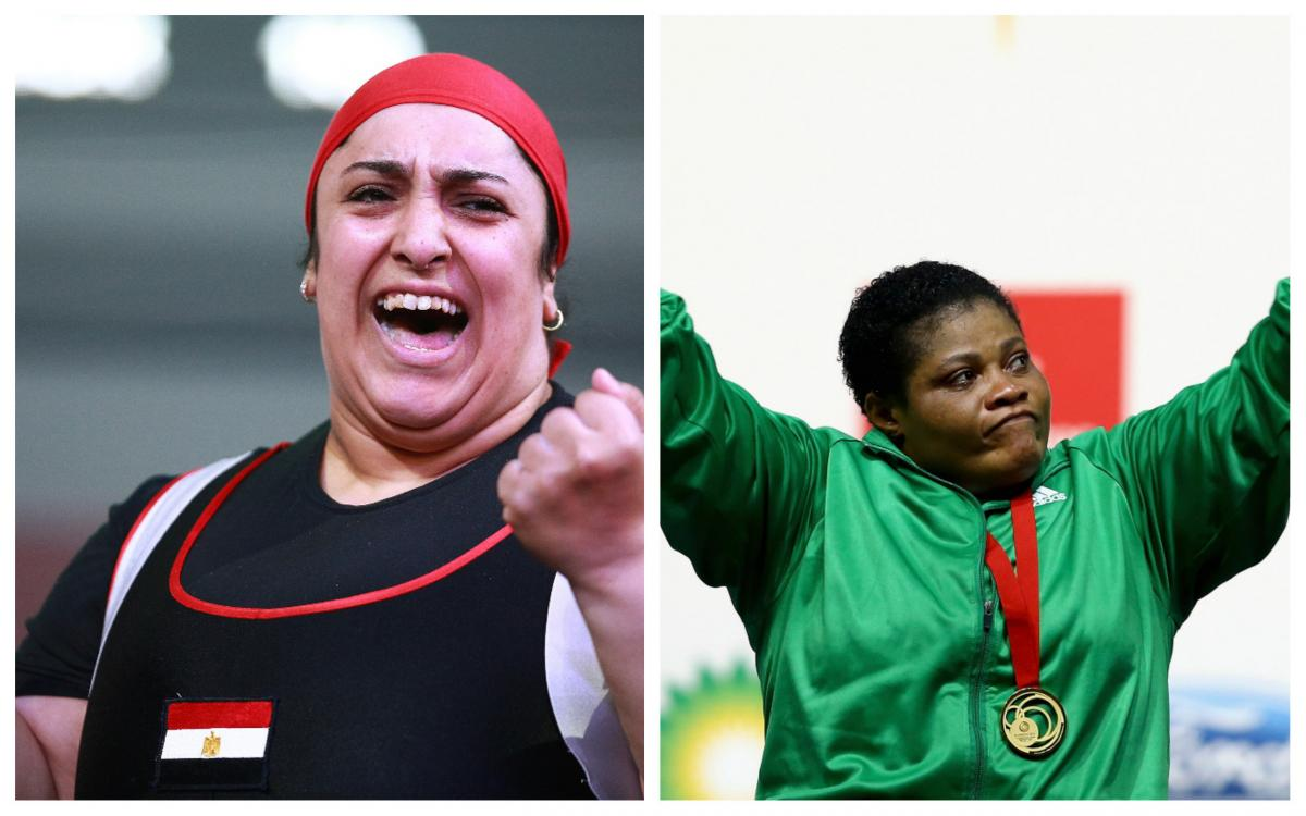 Female powerlifters Randa Mahmoud and Loveline Obiji saluting the crowd