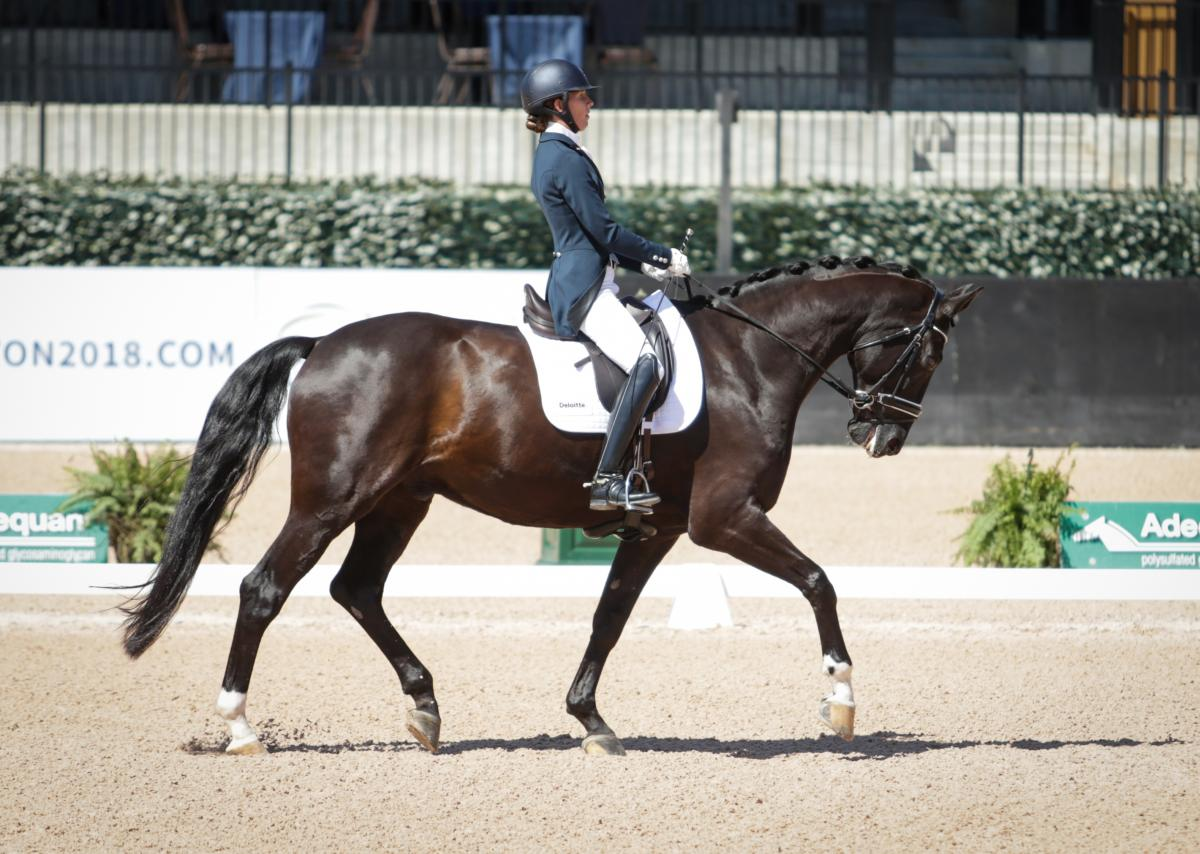 female Para equestrian rider Kate Shoemaker on her horse