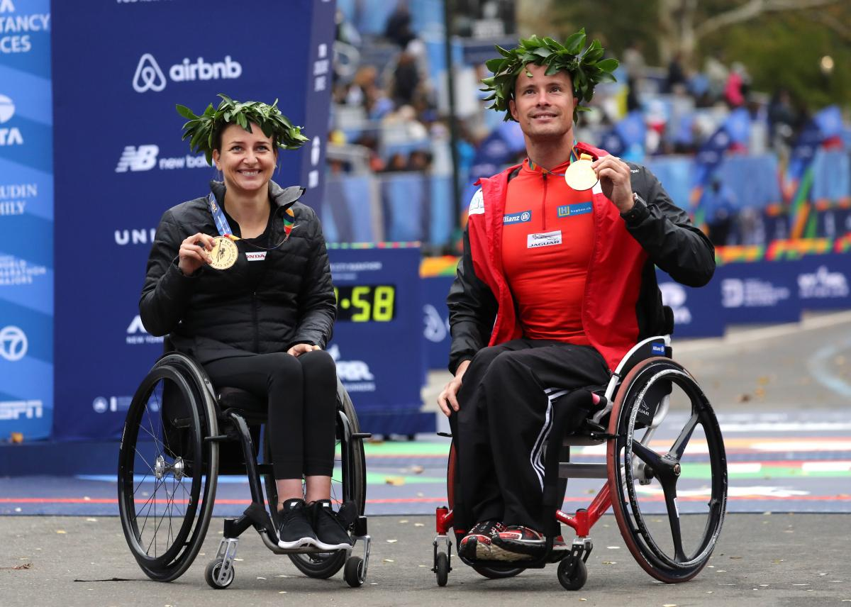 female and male wheelchair racers Manuela Schaer and Marcel Hug