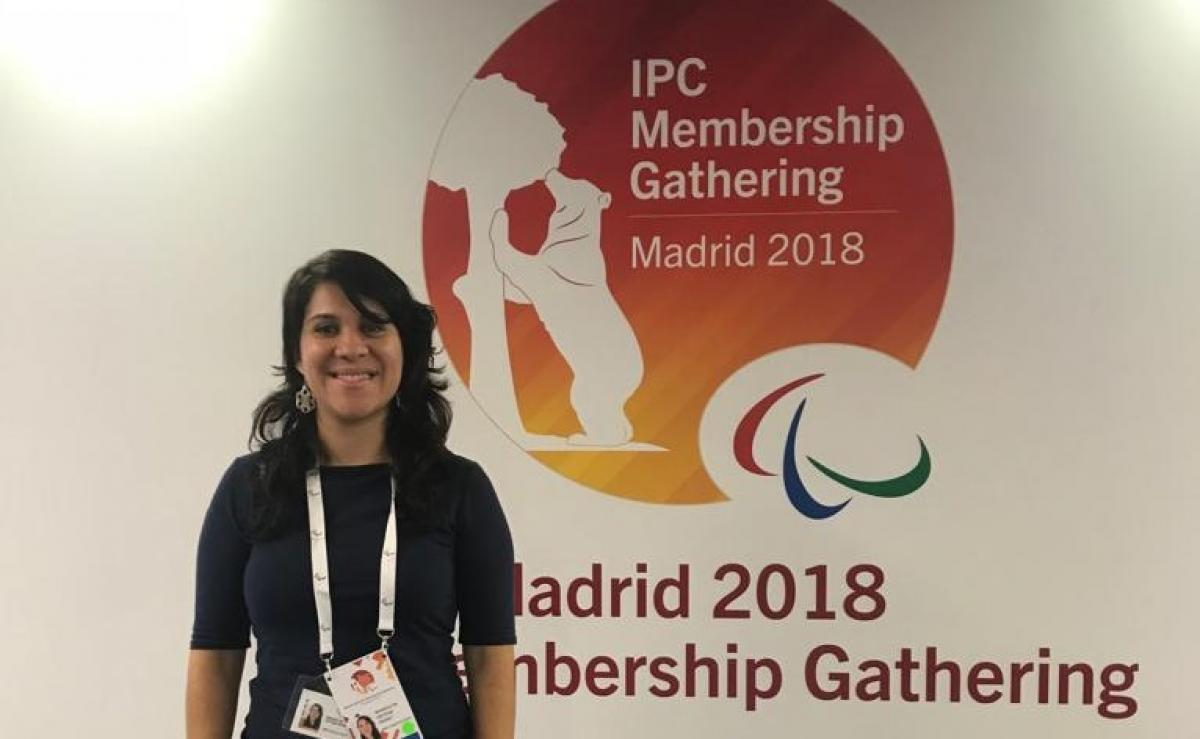 Wendolyn Ortega representing Puerto Rico at the IPC Membership Gathering