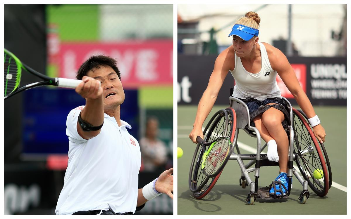 wheelchair tennis players Shingo Kunieda and Diede de Groot playing a forehand and a backhand