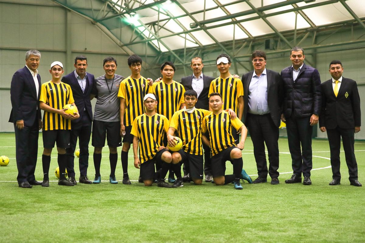 Luis Figo was among the attendants to the blind football training sessions in Kazakhstan