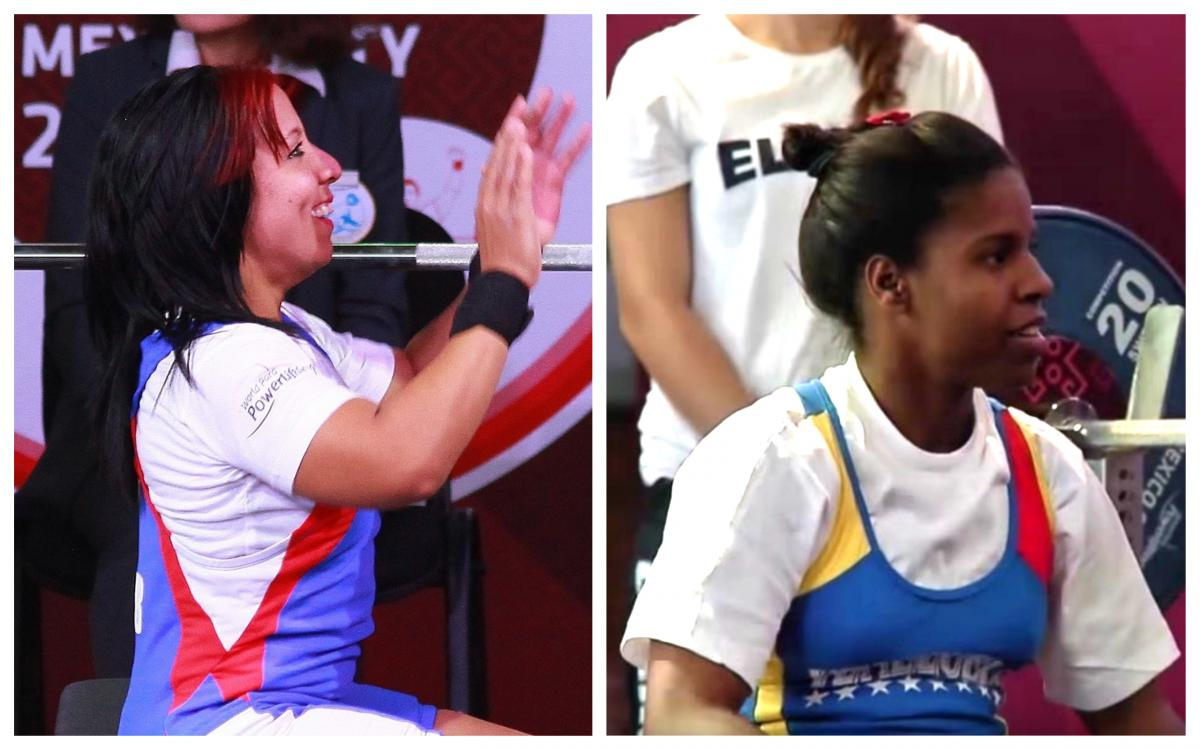 female Para powerlifters Leidy Rodriguez and Clara Fuentes sitting on the bench