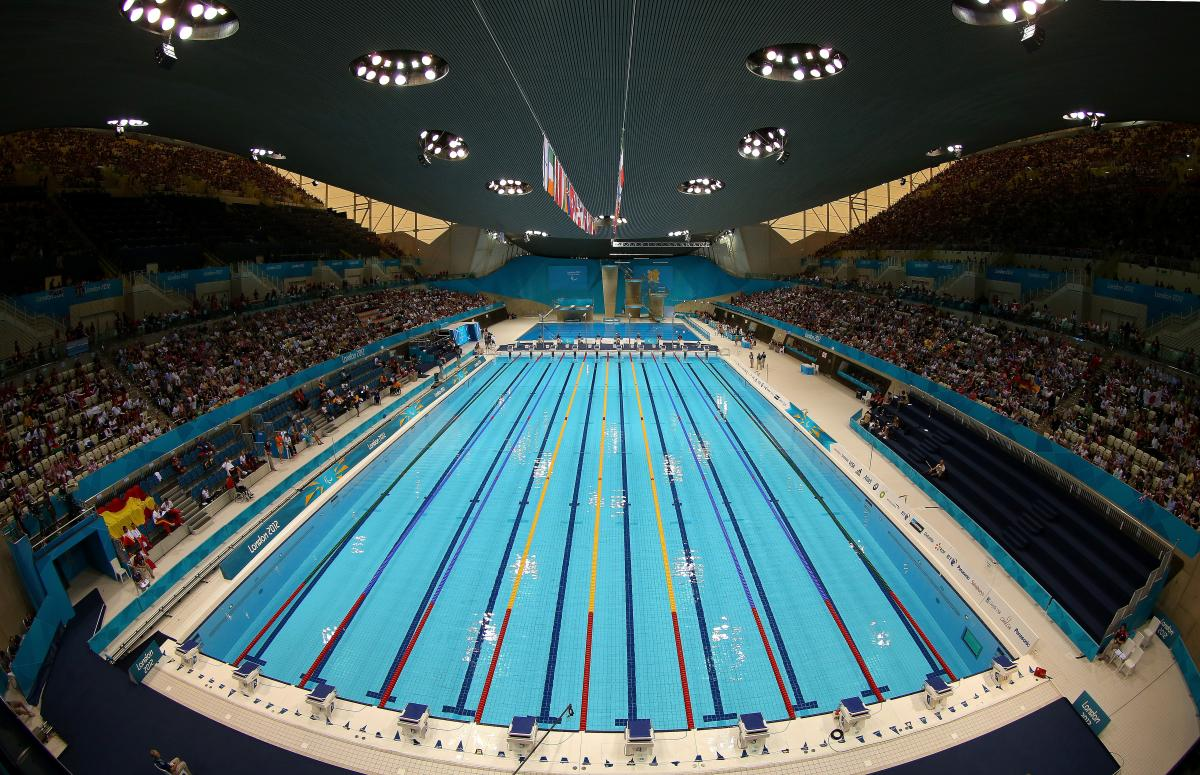 a high wide shot of the swimming pool at the London 2012 Aquatic Centre