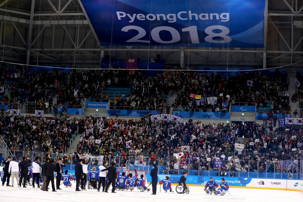 South Korean Para ice hockey team celebrates in front of massive crowd at PyeongChang 2018