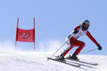 A picture of a woman skiing