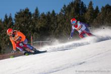 Great Britain's Kelly Gallagher and guide Charlotte Evans in action in La Molina