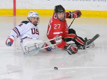 A picture of the ice sledge hockey player on a field