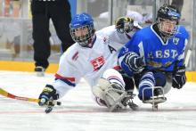 A picture of 2 men in sledge fighting the puck during a ice hockey match