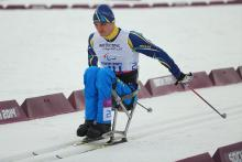 Maksym Yarovyi of Ukraine competes in the men's 15km sitting Para cross-country skiing at the Sochi 2014 Paralympic Winter Games.