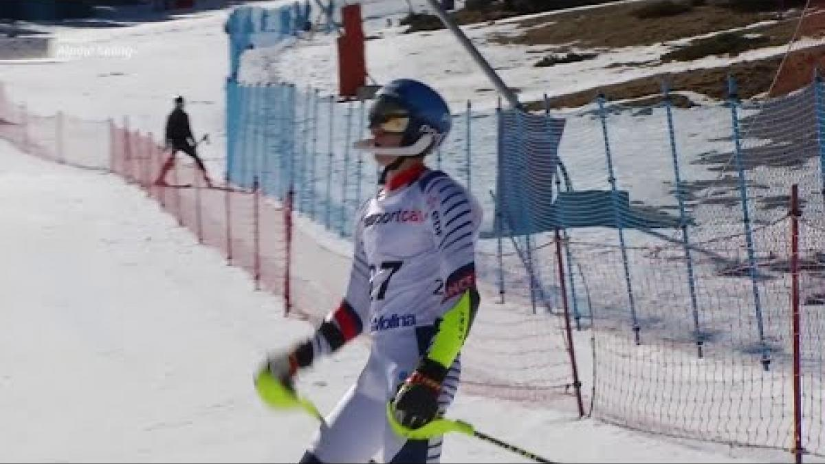 Arthur Bauchet | Slalom Standing Day 4 | World Para Alpine Skiing World Cup | La Molina 2019